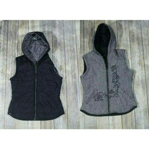 Prana Reversible Vest Houndstooth Quilted Hooded